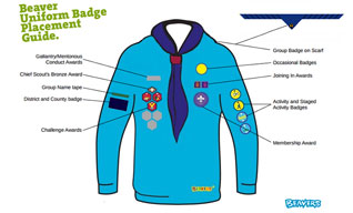 Beaver badge placements on uniform