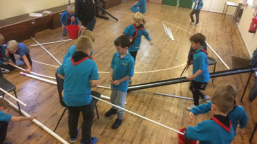 Beavers fun activity in scout hall