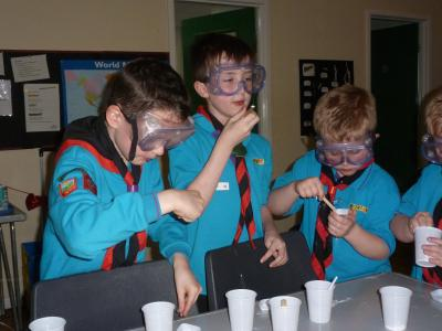 Beavers wearing goggles during lesson