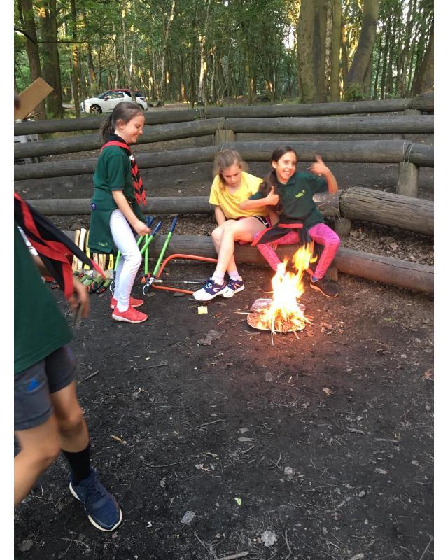 Girl cubs round open fire