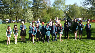 Cubs group photo with Leaders at camping