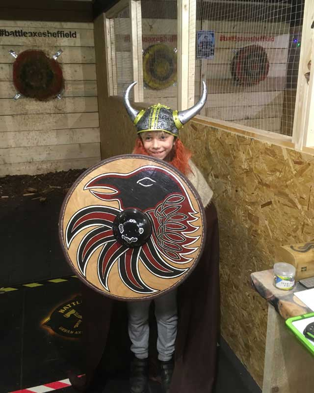 cubs at battleaxe with shield